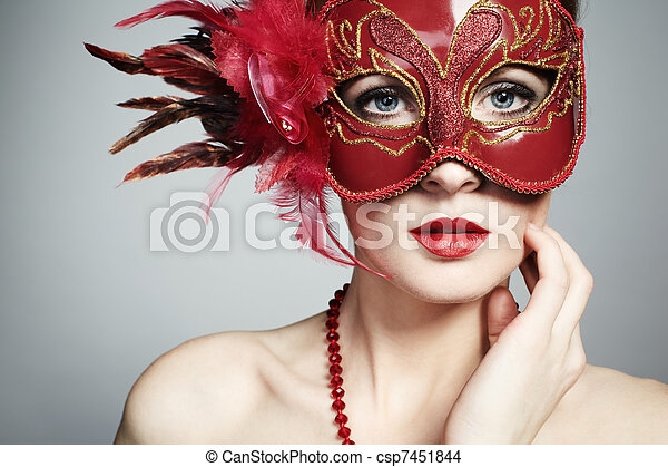 0a4c79ec4b90e The beautiful young woman in a red mysterious venetian mask - csp7451844