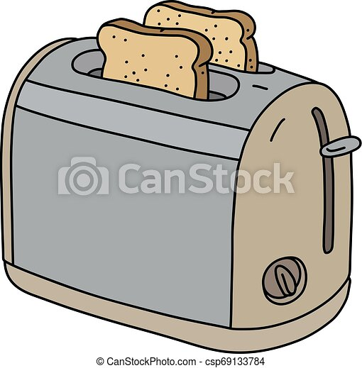 The beige electric toaster - csp69133784