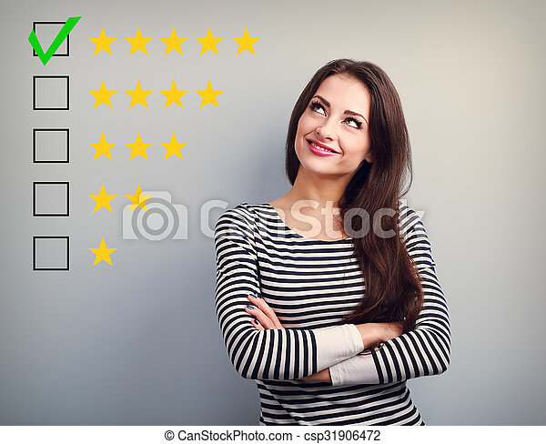 The best rating, evaluation. Business confident happy woman voting to five yellow star to increase ranking. On grey background - csp31906472