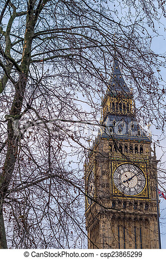 The Big Ben, Houses of Parliament, Westminster, London - csp23865299