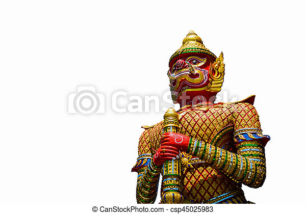 The Big Giant guardian statue isolated on white background in Thai Temple, Thailand - csp45025983