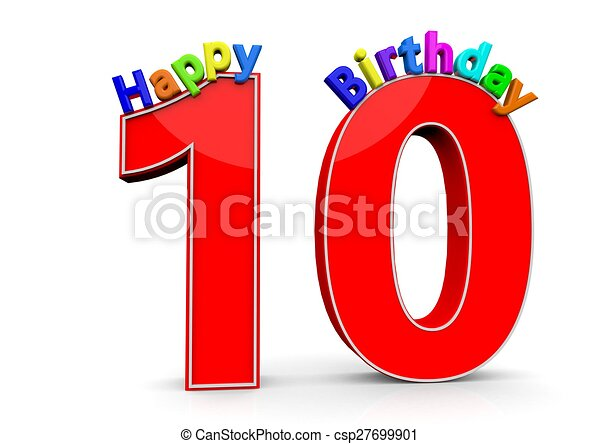 The Big Red Number 10 With Happy Birthday In Colorful