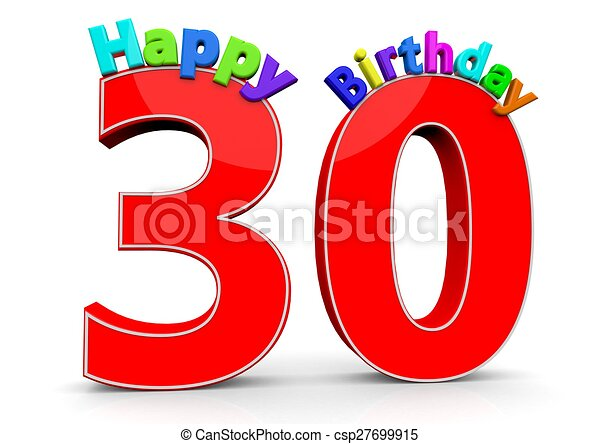 30 >> The Big Red Number 30 With Happy Birthday In Colorful Letters