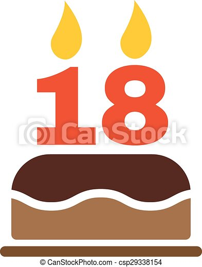 The birthday cake with candles in the form of number 18 icon. Birthday  symbol.