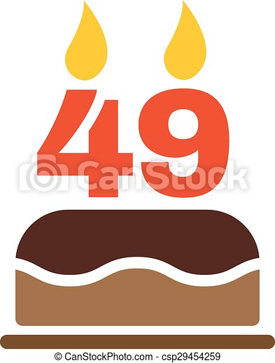 The birthday cake with candles in the form of number 49 icon. Birthday  symbol.