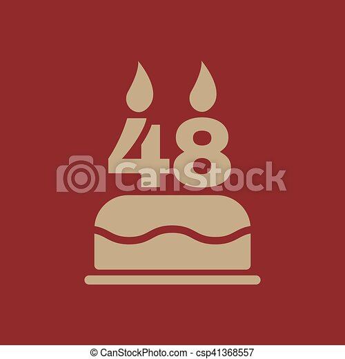 The birthday cake with candles in the form of number 48 icon. Birthday  symbol.