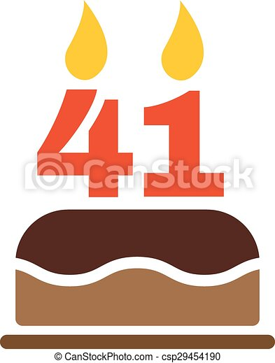 the birthday cake with candles in the form of number 41 icon
