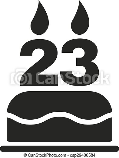 23 >> The Birthday Cake With Candles In The Form Of Number 23 Icon
