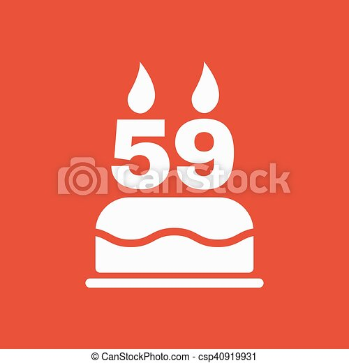 The birthday cake with candles in the form of number 59 icon. Birthday  symbol.