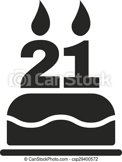 The birthday cake with candles in the form of number 21 vectors