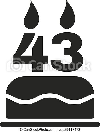 43 >> The Birthday Cake With Candles In The Form Of Number 43 Icon