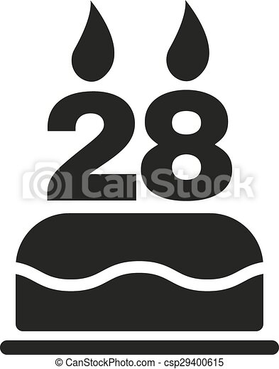 The birthday cake with candles in the form of number 28 icon. Birthday  symbol.