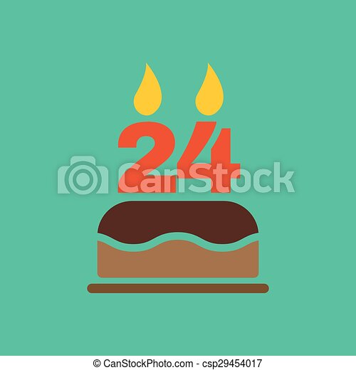 The Birthday Cake With Candles In Form Of Number 24 Icon Symbol