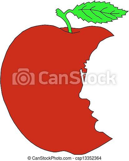 The bitten off red apple - csp13352364