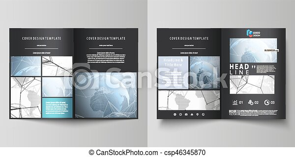 The black colored vector illustration of editable layout of two A4 format modern covers design templates for brochure, flyer, booklet. World globe on blue. Global network connections, lines and dots. - csp46345870