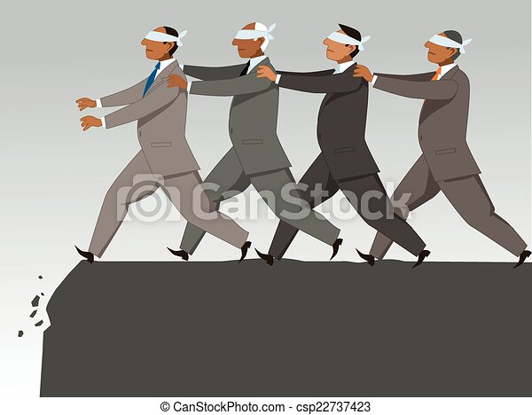 The Blind Leading The Blind Group Of Blindfolded