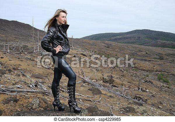 the blonde in black - csp4229985