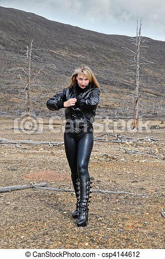 the blonde in black - csp4144612