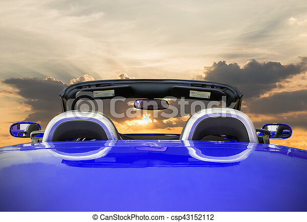 The blue car with sunset - csp43152112