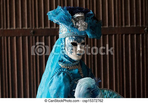 The blue lady in the carnivalesque costume - csp15372762
