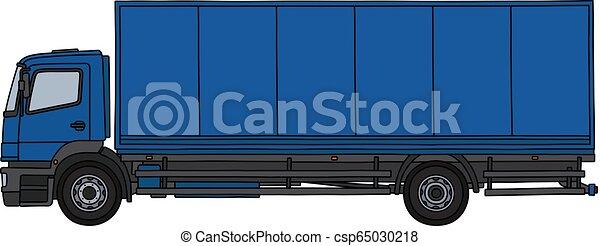 The blue long cargo truck - csp65030218