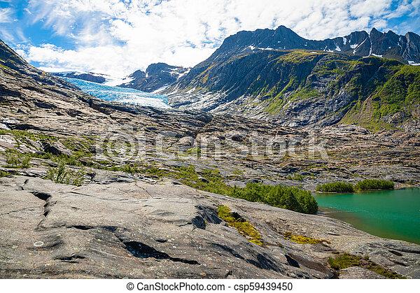 The blue Svartisen Glacier, north Norway - csp59439450