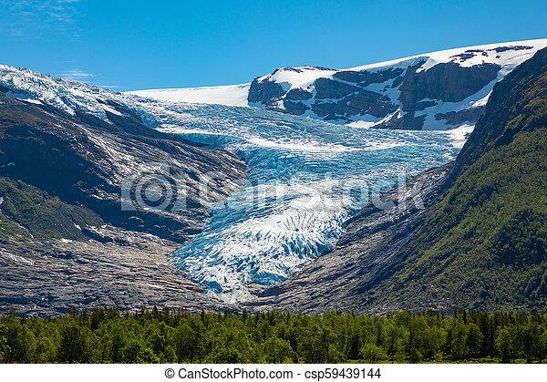 The blue Svartisen Glacier, north Norway - csp59439144