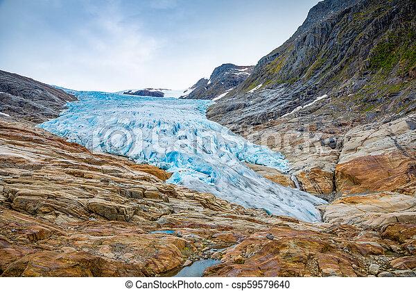 The blue Svartisen Glacier, north Norway - csp59579640