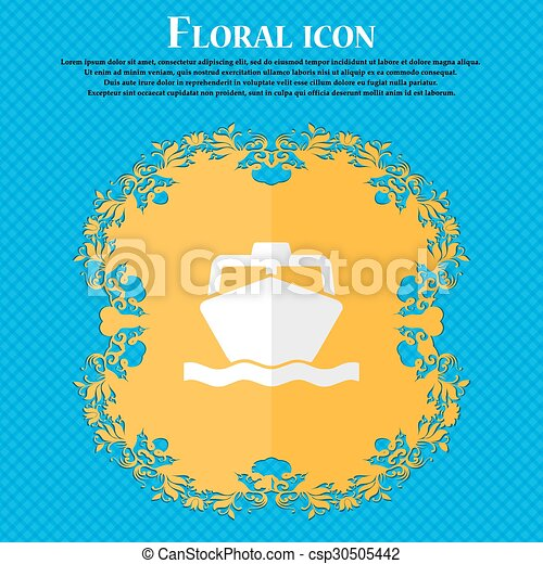the boat. Floral flat design on a blue abstract background with place for your text. Vector - csp30505442