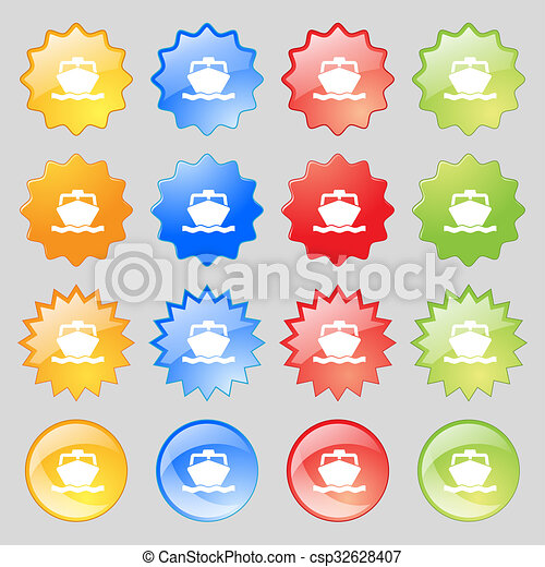 the boat icon sign. Big set of 16 colorful modern buttons for your design. - csp32628407