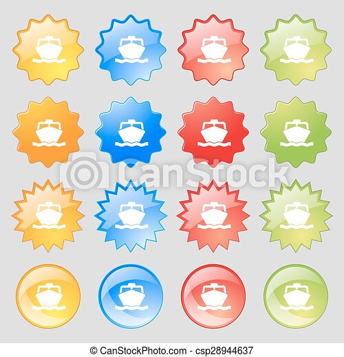 the boat icon sign. Big set of 16 colorful modern buttons for your design. Vector - csp28944637