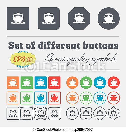 the boat icon sign. Big set of colorful, diverse, high-quality buttons. Vector - csp28947097