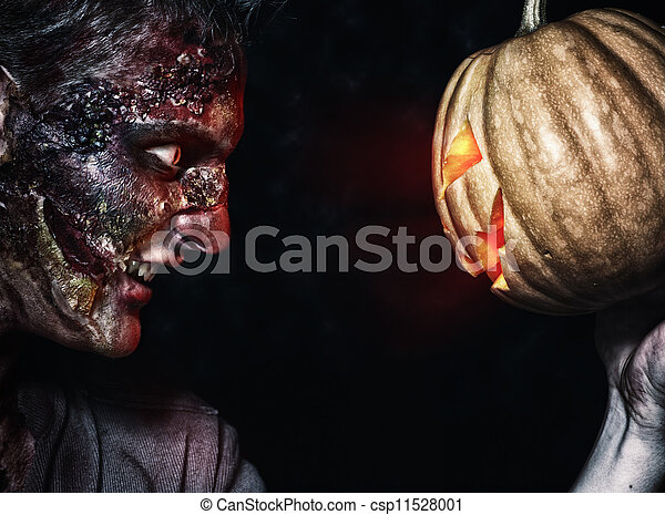 The boy is zombie with pumpkin - csp11528001