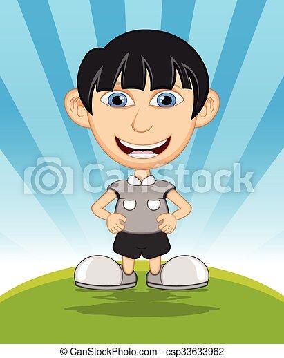 The boy laughing cartoon vector - csp33633962