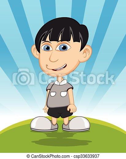 The boy laughing cartoon vector - csp33633937