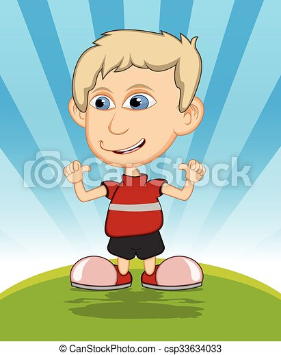 The boy laughing cartoon vector - csp33634033
