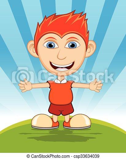 The boy laughing cartoon vector - csp33634039