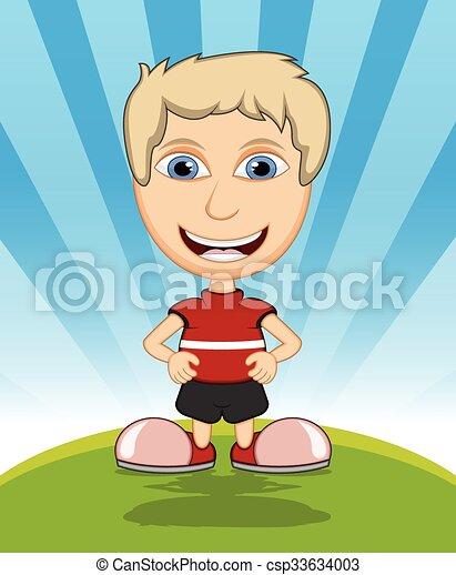 The boy laughing cartoon vector - csp33634003