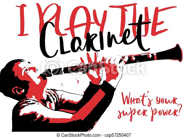 the boy playing clarinet poster musical image with playing rh canstockphoto com