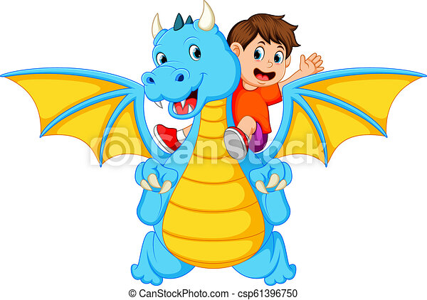 The Boy Playing With The Big Blue Dragon And It Can Produce The Fire