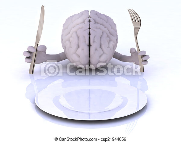 the brain with hands and utensils - csp21944056
