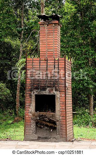 The Brick fireplace of burner garbage - csp10251881