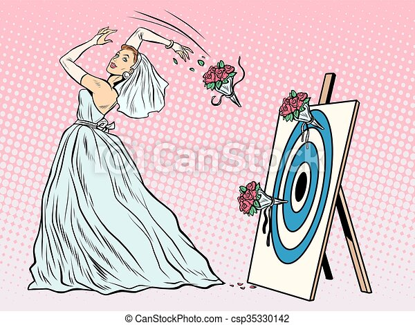 The bride bouquet flower girl throws on target - csp35330142