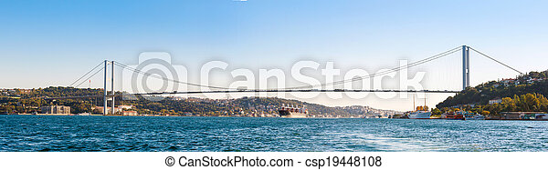 the bridge on Bosphorus (panorama) - csp19448108