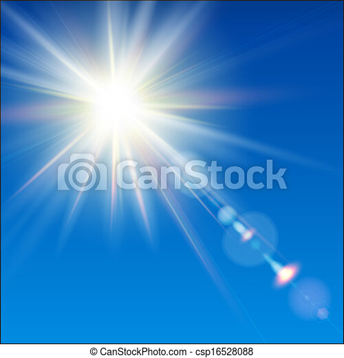 The bright sun shines on a blue sky background. - csp16528088