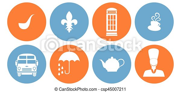 the britain icons set of icons in the style of a flat design on the