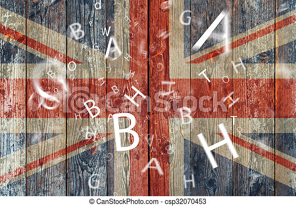The British flag and letters Concept learning english language - csp32070453