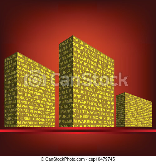 The building, made up of words. Trade. - csp10479745