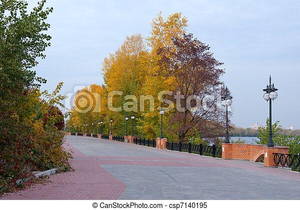 The bund in the autumn park - csp7140195