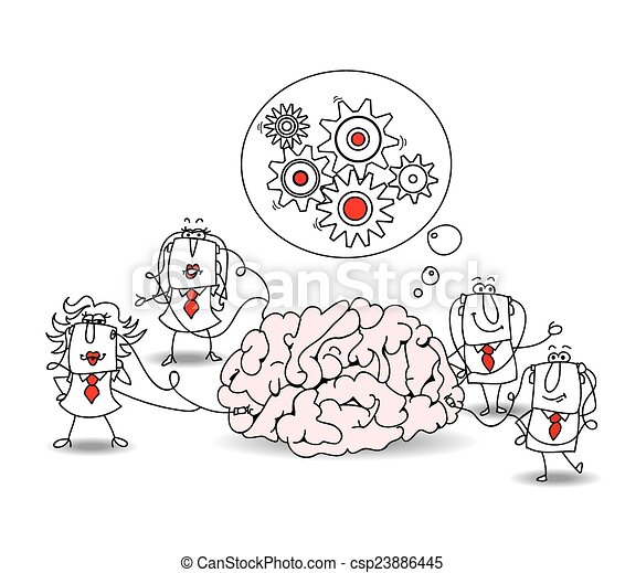 The business team and the brain - csp23886445